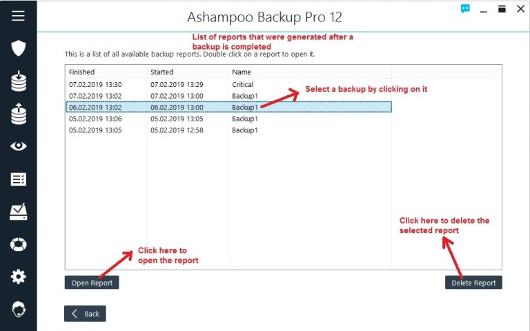 Ashampoo Backup reports