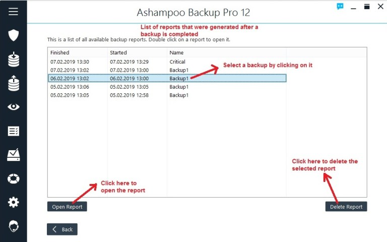 Ashampoo Backup reports