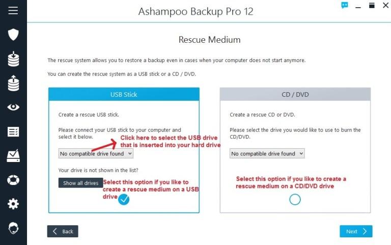 Ashampoo Backup rescue medium