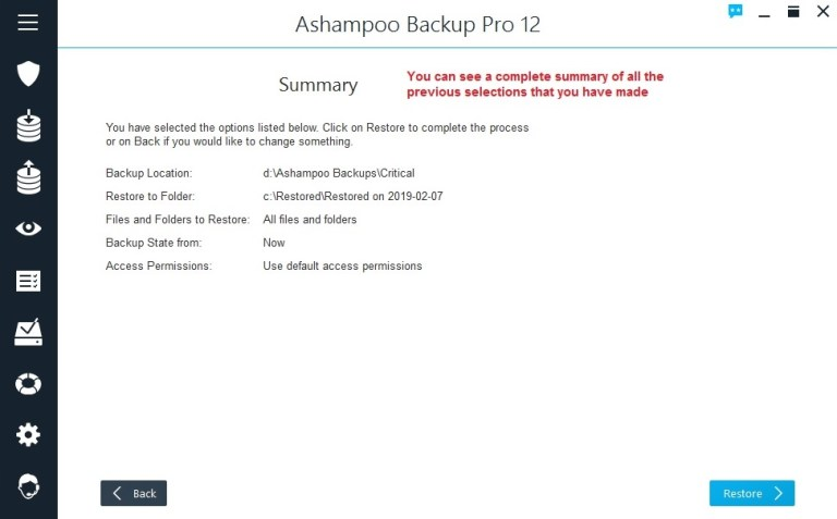 Ashampoo Backup restore summary