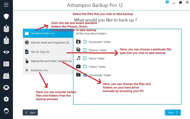 Ashampoo Backup select files and folders