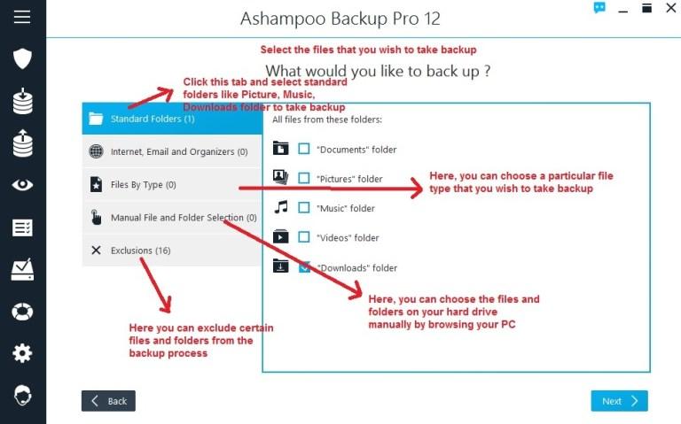 Ashampoo Backup select files and folders
