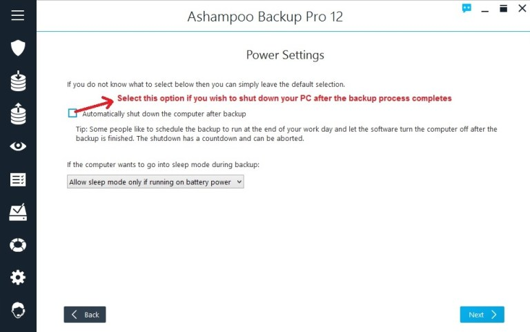 Ashampoo Backup select power settings