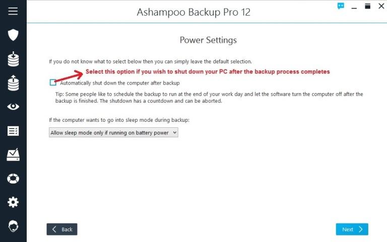 Ashampoo Backup select power settings
