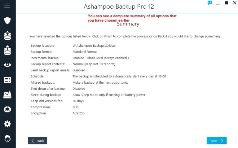Ashampoo Backup summary