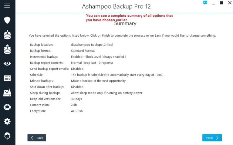 Ashampoo Backup summary