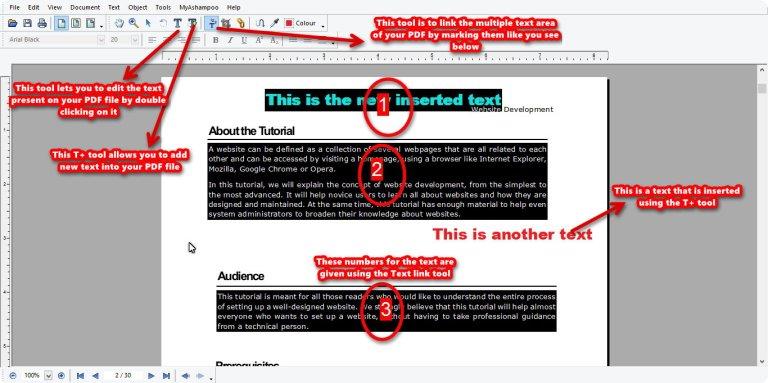 Ashampoo PDF Pro text link tool