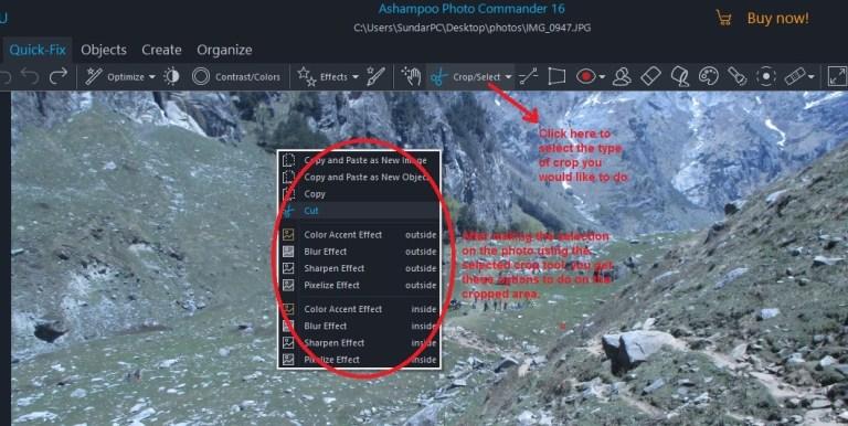 Ashampoo Photo Commander quick-fix crop
