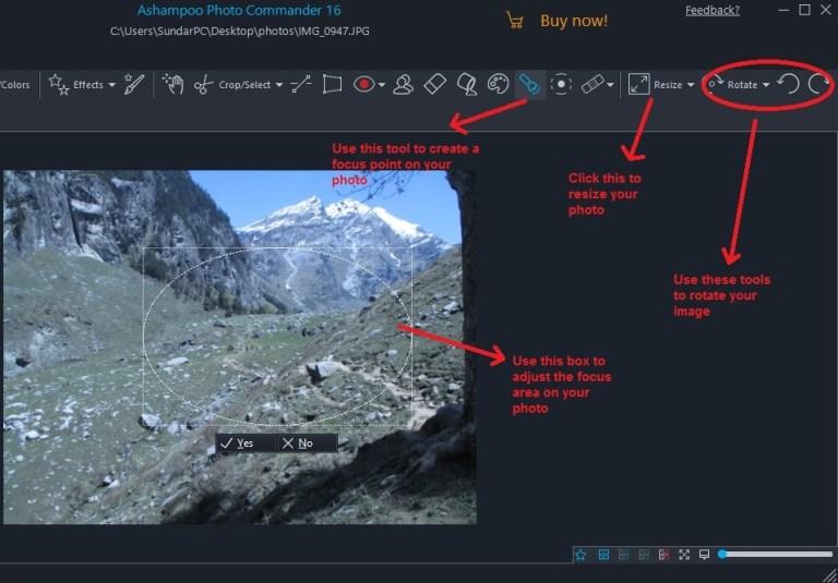 Ashampoo Photo Commander quick-fix focus