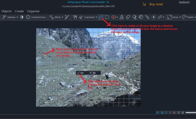 Ashampoo Photo Commander quick-fix tilt manually