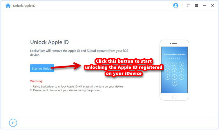 iMyFone LockWiper unlock apple id start process