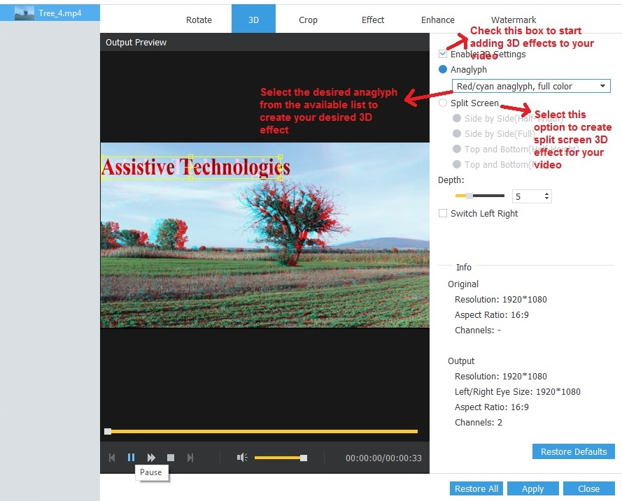 AnyMp4 Video Converter Ultimate 3D