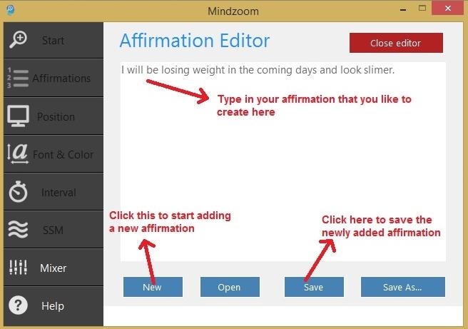 Add new affirmations