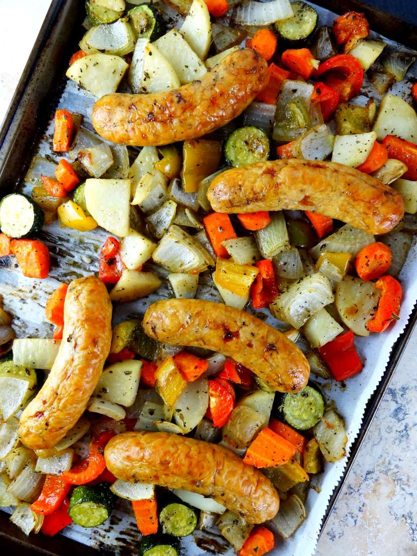 Roasted Vegetables & Chicken Sausage. A one pan meal super easy recipe from The Cheerful Kitchen!