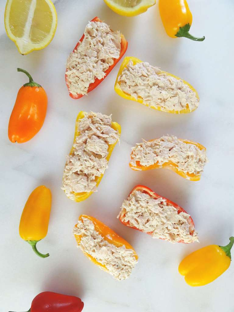 Tuna Salad Boats in Baby Bell Peppers from The Cheerful Kitchen. A healthy lunch idea!