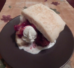 Cranberry Shortcake made with a cranberry, apple & pear compote