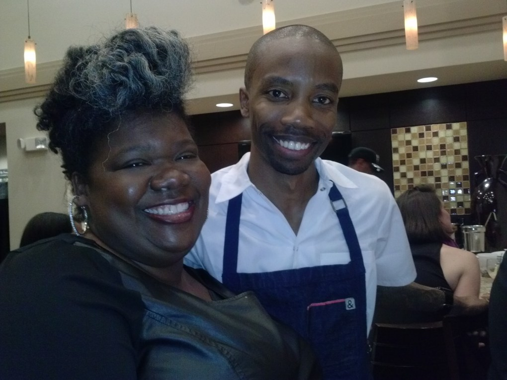 Chef Ed Harris, Food Network's Chopped winner along side The Chef In Pearls
