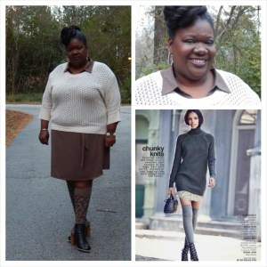 Thanksgiving OOTD Shirt dress Lane Bryant Sweater Ashley Stewart Knee socks Target Shoes Lane Bryant