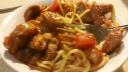 Thin Spaghetti with Toamto sauce and Italian Sausage