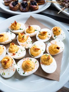 Deviled Eggs with Bacon Jam