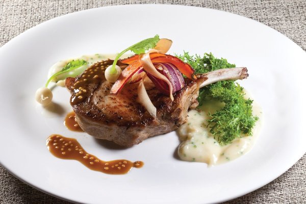 Grilled Berkshire Pork Chop by Jacques Sorci. Photo by Battman. Master Chefs of France