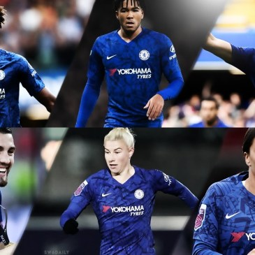 Top: Chelsea FC Players Tammy Abraham, Reece James and Mason Mount. Bottom: Chelsea FC Midfielder Mateo Kovacic, Chelsea Women Strikers Bethany England and Sam Kerr.