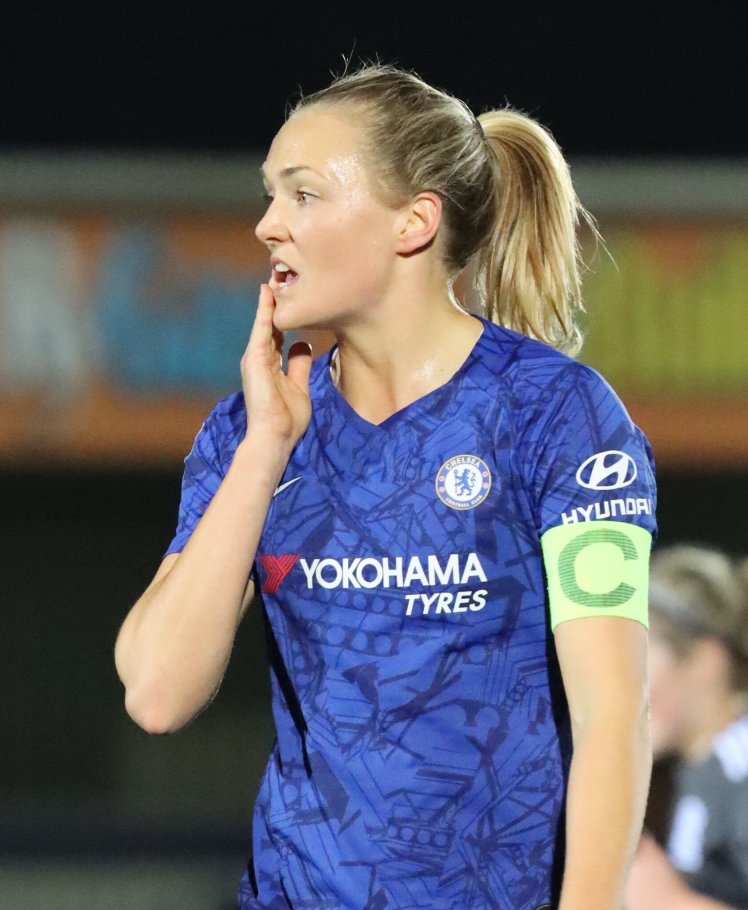 A pensive Magdalena Eriksson in action for Chelsea Women.