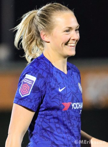 All smiles for Magda Eriksson in action for Chelsea Women.