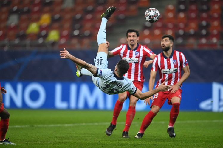 Olivier Giroud's stunning bicycle kick makes it Atlético Madrid 0-1 Chelsea.