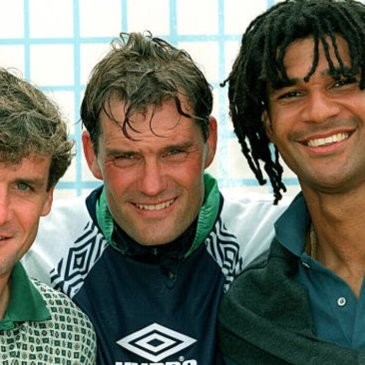 The three that shaped Chelsea in the 1995 season, Gullit, Hughes and Hoddle. (Photo by Bob Thomas Sports Photography via Getty Images)