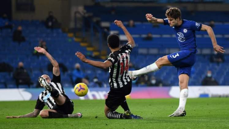 Marcos Alonso rampages down the left.