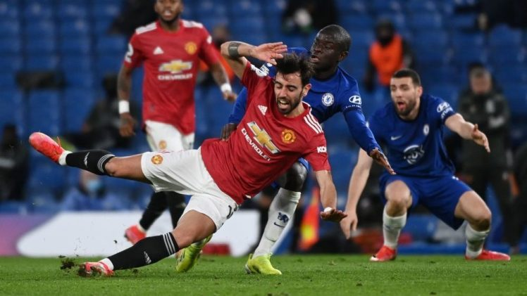 N'Golo Kante battling to win the ball against Bruno Fernandes at Chelsea draw 0-0 with Manchester United