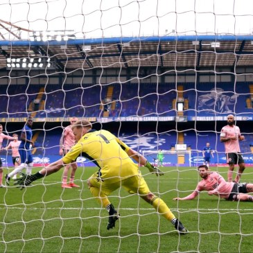 LONDON, ENGLAND - MARCH 21: Aaron Ramsdale of Sheffield United is unable to save as Oliver Norwood (C,R) of Sheffield United scores an own goal during the Emirates FA Cup Quarter Final between Chelsea and Sheffield United at Stamford Bridge on March 21, 2021 in London, England. Sporting stadiums around the UK remain under strict restrictions due to the Coronavirus Pandemic as Government social distancing laws prohibit fans inside venues resulting in games being played behind closed doors. (Photo by Justin Setterfield - The FA/The FA via Getty Images)