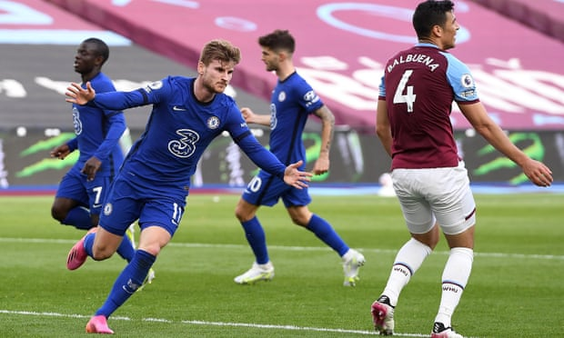 Werner celebrates the only goal of the game against West Ham. (Photo by Justin Setterfield/Getty Images)