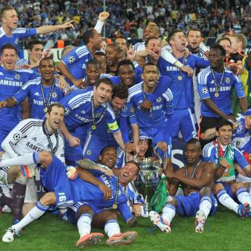 Chelsea celebrate their 2012 Champions League Victory.