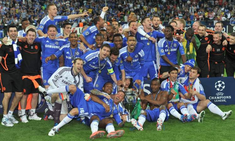 Chelsea celebrate the 2012 Champions League Victory.