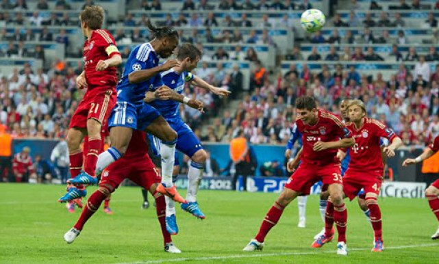 Didier Drogba scores for Chelsea in the 2012 Champions League Final.