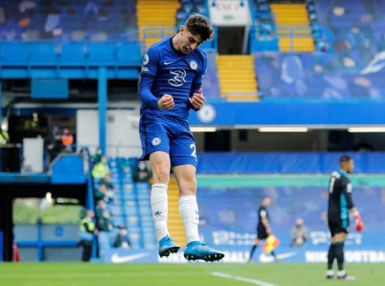 Kai Havertz scored a brace against Fulham at Stamford Bridge. Credit | Tom Jenkins/The Guardian