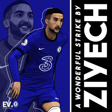 Hakim Ziyech scored and assisted in a wonderful away win against Burnley in October. Image courtesy of @andriyasm