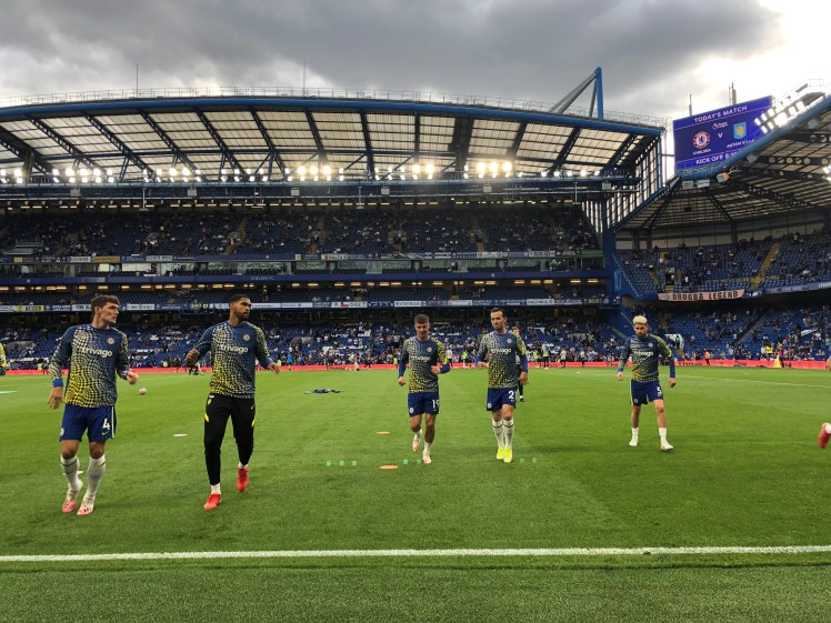 Our writer watches as Chelsea warm up against Aston Villa.