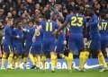 Chelsea celebrating a goal against Nottingham Forest