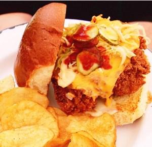 Parson's chicken sandwich patio summer