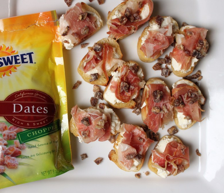 Easy recipe appetizer for honey goat cheese and prosciutto recipe topped with Sunsweet Dates.