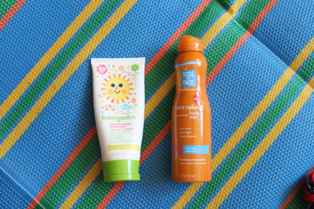 summer essentials for mom and toddler for parks, beach, and pool. Sunscreen, skin and hair products. Kiss the Face Sunscreen and Babyganics