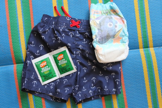summer essentials for mom and toddler for parks, beach, and pool. Sunscreen, skin and hair products. Swim diapers and OFF bug spray wipes