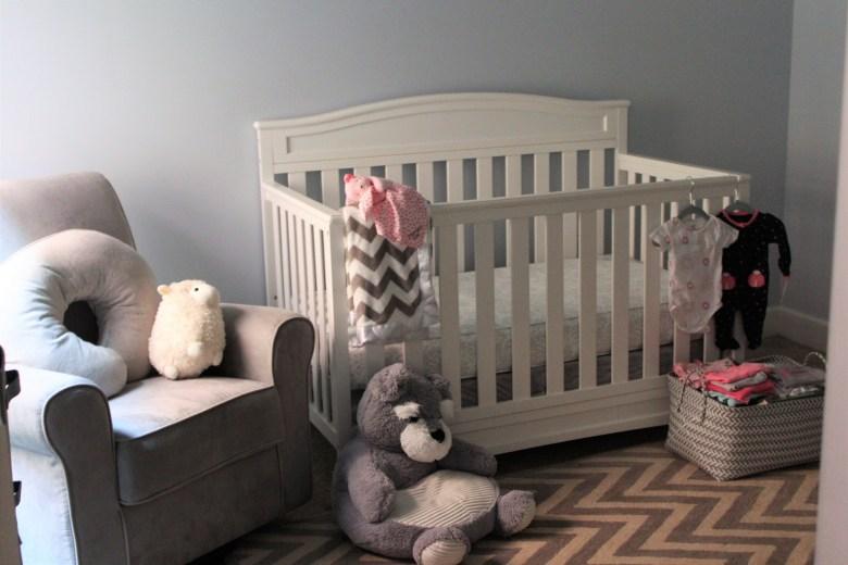 Our nursery essentials: crib, mattress, rocker