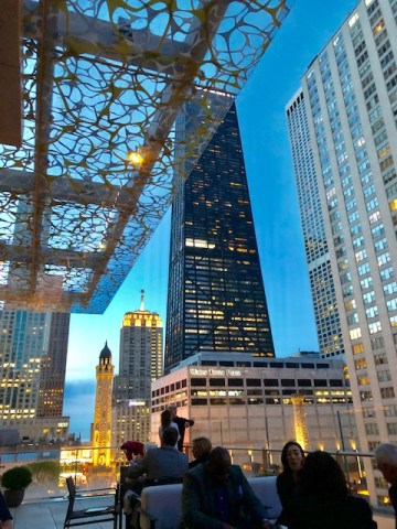 Z bar is on the rooftop of the Peninsula hotel in downtown Chicago