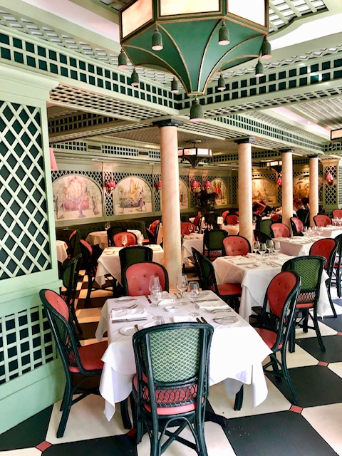 Brennan's New Orleans is such great place to brunch and has a courtyard for a la carte dining. It's colorful with all the pink and green.