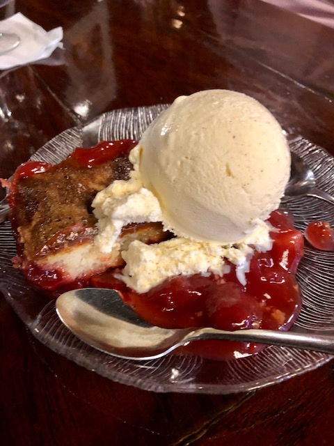 Cherry pie from White Pines Resort Restaurant is homemade and delicious. It's a great supper club to eat at while at Pine Creek Escape.