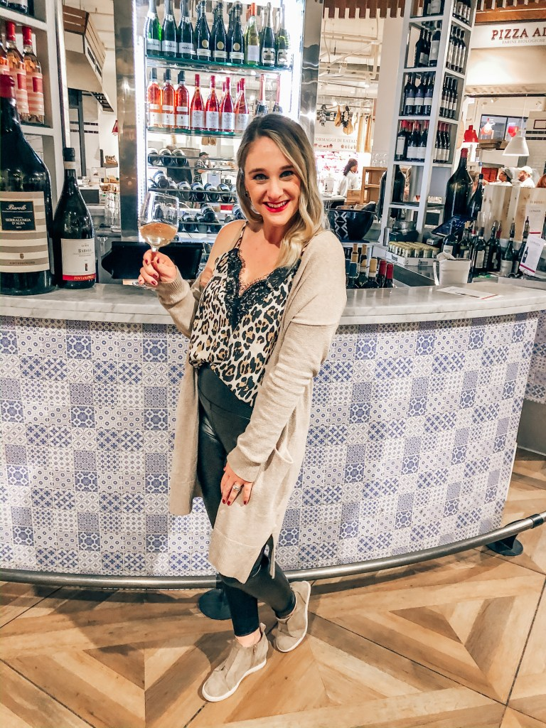 Happy hour at Eataly is something fun to do when it's cold outside in Chicago. You can grab a glass of wine and just wander around the store.